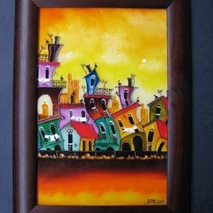 Cubana  - festett üveg, üvegfestmény, Festmény vegyes technika, Festmény, Művészet, Festészet, Üvegművészet, Cubana  - festett üveg, üvegfestmény.\nKuriózum technikával készült, festett üvegkép, 24 x 30  cm, Ha..., Meska