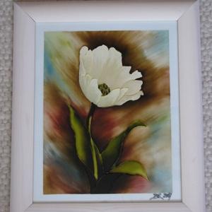 Virág -  Tulipán, festett üveg, üvegfestmény, Otthon & lakás, Lakberendezés, Falikép, Virág -  Tulipán, festett üveg, üvegfestmény. Kuriózum technikával készült, 21 x 30  cm-es,  egyedi ..., Meska