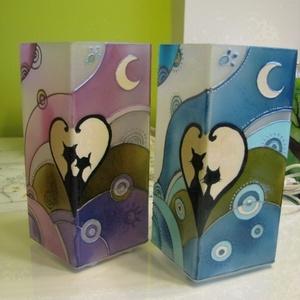 Cicák, szerelmesen, Meselámpa - a szerelmet meséli el....festett üveg hangulat lámpa  (aster) - Meska.hu