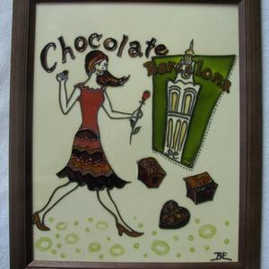 Párizsi csoki - festett üvegkép, üvegfestmény, Otthon & lakás, Lakberendezés, Falikép, Konyhafelszerelés, Párizsi csoki - festett üvegkép, üvegfestmény, Kuriózum technikával készült, izgalmas, 18  x 24  cm ..., Meska