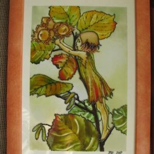 Mogyoró Tünde  - festett üveg mesekép, üvegfestmény - készleten!, Gyerek & játék, Gyerekszoba, Baba falikép, Festészet, Üvegművészet, Mogyoró Tünde  - festett üveg mesekép, üvegfestmény -------------------Cicely Mary Barker illusztrác..., Meska