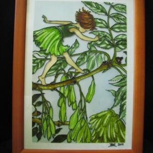 Juharfa Tünde  - festett üveg, üvegfestmény KÉSZLETEN, Lakberendezés, Otthon & lakás, Falikép, Gyerek & játék, Gyerekszoba, Festészet, Üvegművészet, Juharfa Tünde Cicely Mary Barker illusztráció alapján készült, festett üveg, üvegfestmény. \n\nBaba sz..., Meska