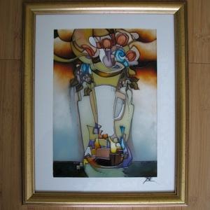 Váza - nonfiguratív üvegfestmény, Festmény vegyes technika, Festmény, Művészet, Festészet, Üvegművészet, Váza - nonfiguratív üvegfestmény egyedi , mérete 30 x 40 cm. Színben hozzáillő, arany keretben. Rend..., Meska