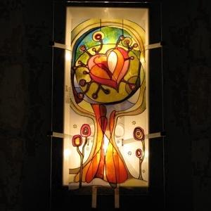 """Szeretetfa - Festett üveg falilámpa, hangulatlámpa, Lakberendezés, Otthon & lakás, Lámpa, Fali-, mennyezeti lámpa, Hangulatlámpa, Festett tárgyak, Üvegművészet, 56 x 25 cm méretű, festett üveg falilámpa, a Szeretetfa asztali üveglámpa \""""nagytestvére\"""" (ld. utolsó..., Meska"""