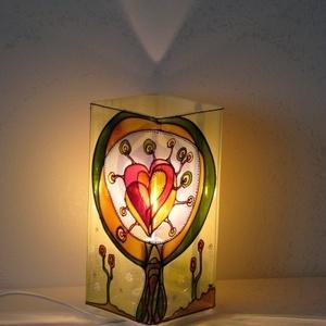Szeretetfa - Festett üveg falilámpa, hangulatlámpa (aster) - Meska.hu