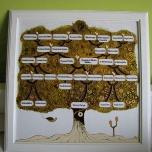 Életfa, Családfa, Nászfa, Arany fa - festett üveg, üvegfestmény, Otthon & Lakás, Dekoráció, Kép & Falikép, Üvegművészet, Életfa, Családfa, Nászfa, Arany fa - festett üveg, üvegfestmény\n-------------------------------\nCsal..., Meska