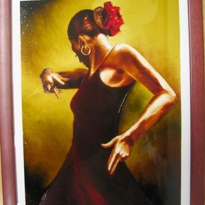 Andalúz táncos - festett üveg kép, üvegfestmény , Lakberendezés, Otthon & lakás, Falikép, Képzőművészet, Festmény, Festészet, Üvegművészet, Andalúz táncos - festett üveg kép, üvegfestmény \n\nNagyon ütős, kuriózum technikával készült, nagy mé..., Meska