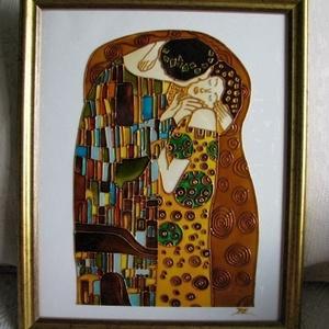 """Szerelem mindörökké. Klimt: Csók  - kuriózum üvegfestmény, Festmény vegyes technika, Festmény, Művészet, Üvegművészet, Festészet, \""""Szerelem mindörökké\"""" Gustav Klimt: Csók c. festménye alapján készült kuriózum üvegfestmény reproduk..., Meska"""