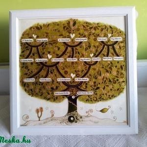 Családfa, Nászfa, esküfa, életfa, Otthon & lakás, Képzőművészet, Családfa, Nászfa, életfa nagy méretű festett üveg, különleges üvegfestmény. Mérete 50 x 50 cm.  ..., Meska