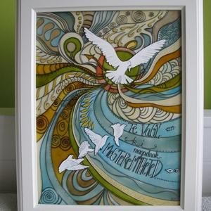 Önállóság madara - egyedi festett üveg, üvegfestmény, Képzőművészet, Otthon & lakás, Festmény, Ballagás, Ünnepi dekoráció, Dekoráció, Festészet, Üvegművészet, Önállóság madara - egyedi festett üveg, üvegfestmény\n\nKuriózum üvegfestmény, igényes ajándékozóknak...., Meska