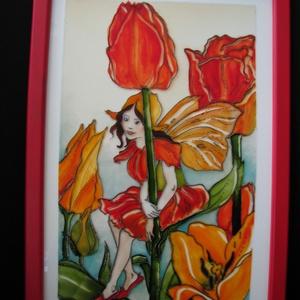 Tulipán tündér  - festett üvegkép, üvegfestmény , Lakberendezés, Otthon & lakás, Falikép, Festészet, Üvegművészet, Nini! Ki kukucskál barna színű köpönyegben itt? Huncut szemében minő fény csillan? \n Tulipán tündér ..., Meska