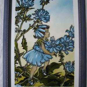 Katáng és almavirág tündér  - festett üvegkép, üvegfestmény , Otthon & lakás, Lakberendezés, Falikép, Nini! Ki kukucskál barna színű köpönyegben itt? Huncut szemében minő fény csillan?  Katáng és almavi..., Meska