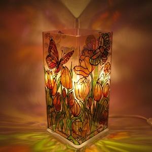 Fényvető PIllangós meselámpa, festett üveg hangulat világítás, Lakberendezés, Otthon & lakás, Lámpa, Esküvő, Nászajándék, Ballagás, Ünnepi dekoráció, Dekoráció, Üvegművészet, Festett tárgyak, Fényvető pillangós meselámpa - Különleges és egyedi, saját fejlesztésű fényfestő hangulatvilágítás, ..., Meska