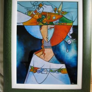 Kék kalapban  - festett üveg kép, üvegfestmény (aster) - Meska.hu
