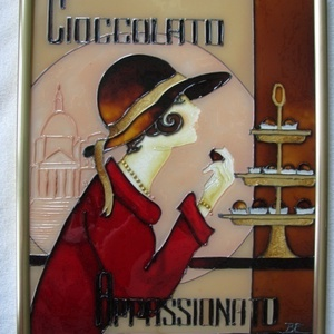 Bonbon, Otthon & lakás, Képzőművészet, Festmény, Csokoládé rajongóknak és édesszájúaknak, ínyenceknek :) - festett üvegkép, üvegfestmény, Kuriózum te..., Meska