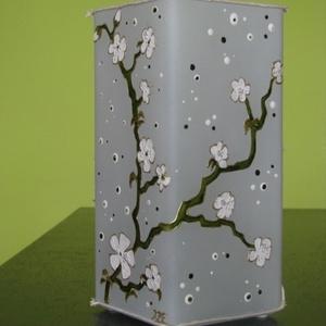 Fehér cseresznyevirágok lámpa - üvegfestett hangulat lámpa  (aster) - Meska.hu