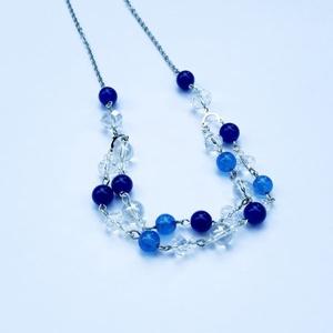 Kék Jade Többsoros Nyaklánc, Ékszer, Nyaklánc, Ékszerkészítés, Kék Jade Többsoros nyaklánc, kétféle kék Jadeval, nikkelmentes szerelékkel és acél ékszerlánccal. A ..., Meska