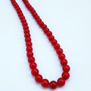 Piros Jade Nyaklánc, Ékszer, Nyaklánc, Gyöngyös nyaklác, Ékszerkészítés, Piros Jade nyaklánc, 8 mm-es ásványgolyókkal. Kézműves egyedi termék, nikkelmentes szerelékkel. A te..., Meska