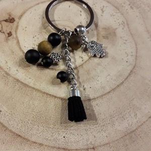 Shade-kulcstartó, Egyéb, Kulcstartó, táskadísz, Táska, Divat & Szépség, Ékszerkészítés, A kulcstartót 8 és  6 mm-es matt tigrisszem és matt ónix ásványgömbök felhasználásával készítettem; ..., Meska