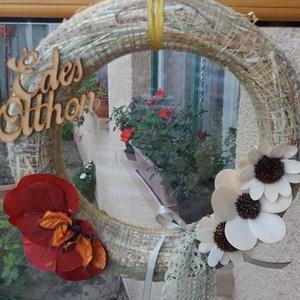 Őszi ajtódísz, Dekoráció, Dísz, Virágkötés, Őszi ajtódísz természetes anyagokból. Koszorúalapra készítettem, szárított növények és fa dekoráció..., Meska