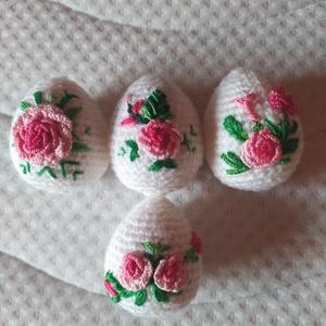 Horgolt hímzett húsvéti tojások2, Otthon & Lakás, Dekoráció, Dísztárgy, Horgolás, Hímzés, Akril fonalból horgolt, pamut fonallal hímzett húsvéti tojások. Körülbelül 5-5,5 cm nagyságúak, szil..., Meska