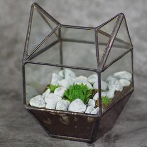 Cica florarium terra növénytartó szukkulenseknek, üveg kitty macska, tiffany ólomüveg technikával, Egyéb, Otthon & lakás, Lakberendezés, Üvegművészet, Cica imádók figyelem!\nEgy kis természetet varázsol az otthonunkba kis kedvencünk formájában :)\nTöbb ..., Meska