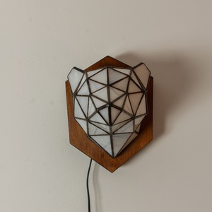 Tiffany Róka Üveg Trófea Falilámpa, különleges, egyedi színes jegesmedve lámpa, 100% handmade, természet inspirálta (aTinYTrIPglassart) - Meska.hu