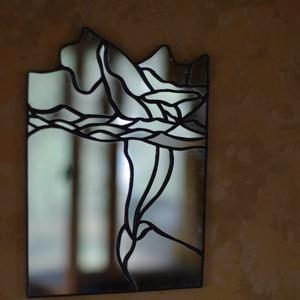 KÉK BÁLNA fali tükör, falikép, otthon dekoráció, lakás, gyerekszoba, fali dísz, ólomüveg dekor, , Otthon & lakás, Dekoráció, Kép, Képzőművészet, Lakberendezés, Falikép, Üvegművészet, Kék bálna fali kép, tükörből. Csodás pillanat amikor a felszínre tör ez a lenyűgöző élőlény : ) \nTer..., Meska