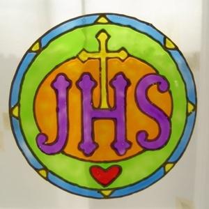 Szakrális ablakdísz, üvegmatrica, JÉZUS, Ablakdísz, Dekoráció, Otthon & Lakás, Festett tárgyak, Festészet, SZAKRÁLIS ABLAKDÍSZ, ÜVEGMATRICA,\nJÉZUS NEVÉNEK BETŰJELE\n\nEz a szimbólum a jézusi energiák bevonzásá..., Meska