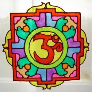 Szakrális ablakdísz, üvegmatrica, OHM JEL II., Ablakdísz, Dekoráció, Otthon & Lakás, Festett tárgyak, Festészet, SZAKRÁLIS ABLAKDÍSZ, ÜVEGMATRICA,\nAZ OHM JEL\n\n  Az egyetemes mantra jele. Energiával tölt fel, segít..., Meska