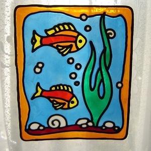 FENG SHUI ablakdísz, üvegmatrica, AKVÁRIUM, Ablakdísz, Dekoráció, Otthon & Lakás, Festett tárgyak, Festészet, FENG SHUI ABLAKDÍSZ, ÜVEGMATRICA,\nAKVÁRIUM\n\n  A Feng Shui előszeretettel alkalmazza az akváriumot a ..., Meska