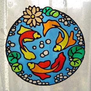 FENG SHUI ablakdísz, üvegmatrica, KERTI TÓ, Ablakdísz, Dekoráció, Otthon & Lakás, Festett tárgyak, Festészet, FENG SHUI ABLAKDÍSZ, ÜVEGMATRICA,\nKERTI TÓ\n\n  A hal a bőség, gazdagság szimbóluma. A Feng Shui szeri..., Meska