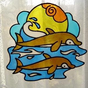 FENG SHUI ablakdísz, üvegmatrica, PÁROS DELFIN, Dekoráció, Otthon & lakás, Dísz, Lakberendezés, Kép, Festett tárgyak, Festészet, FENG SHUI ABLAKDÍSZ, ÜVEGMATRICA,\nPÁROS DELFIN\n\n  A delfin a szeretet, a szabadság, a lelki harmónia..., Meska