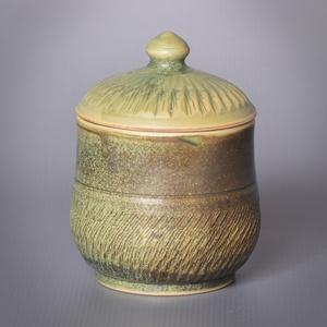 Kerámia cukor, méztartó edényke , Otthon & lakás, Lakberendezés, Konyhafelszerelés, Bögre, csésze, Fehér kőagyagból készült, magastűzön (1210 fokon) tömörre égetett cukor vagy méztartó edényke. Zöld ..., Meska