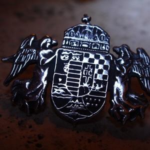 Nagy Magyarország címer kitűző, Kitűző, Kitűző & Bross, Ékszer, Fémmegmunkálás, Ötvös, 925 -ös ezüstből készítettem ezt az aprólékos mintájú(régi Nagy Magyar ország) címert,amely kitűzőké..., Meska