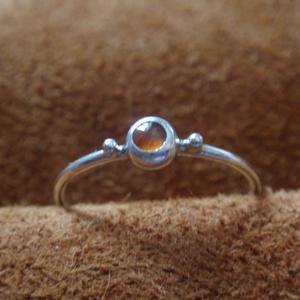 Ezüst drót gyűrű hesszonit gránáttal, Ékszer, Vékony gyűrű, Gyűrű, Ékszerkészítés, Ötvös, Meska