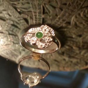 Virágos jade köves gyűrű, Ékszer, Szoliter gyűrű, Gyűrű, Ékszerkészítés, Ötvös, Meska