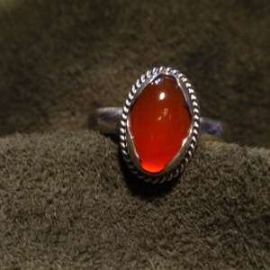 Karneol ezüst  gyűrű, Ékszer, Gyűrű, Szoliter gyűrű, Ékszerkészítés, Ötvös, Meska