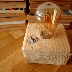 hangulatlámpa, Asztali lámpa, Lámpa, Otthon & Lakás, Famegmunkálás, Hangulatlámpa Edison izzóval vagy meleg fényű leddel, vörösfenyő hasábba süllyesztett foglalattal. R..., Meska