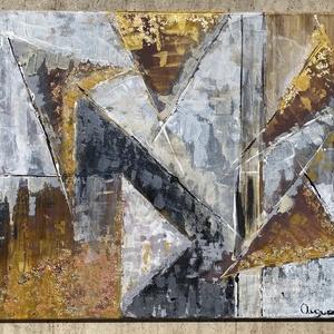 Triangles - akril absztrakt vászon festmény, Otthon & lakás, Dekoráció, Képzőművészet, Festmény, Akril, Festészet, Triangles - akril vászon festmény\n50x60 cm\n2020., Meska