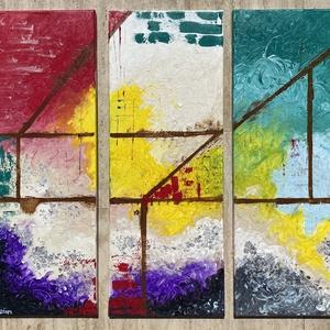 Fusion - akril vászon festmény 80x90 cm, Otthon & lakás, Dekoráció, Képzőművészet, Festmény, Akril, Festészet, Fusion - akril vászon festmény\nHárom részes 80x90 cm \n2020., Meska