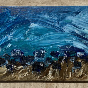 Beach-akril vászon festmény, Otthon & lakás, Dekoráció, Képzőművészet, Festmény, Akril, Festészet, Beach akril vászon festmény \n40x100 cm\n2020., Meska