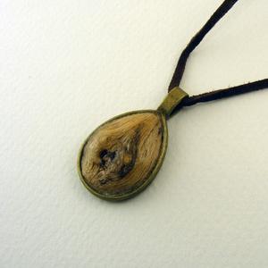 Ligna csepp medál, Ékszer, Nyaklánc, Erdei iszalagból készült csepp alakú medál, bronz színű foglalatban. -dísz mérete: 25mm *20mm  Azono..., Meska