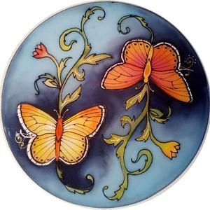 Pillangós selyemkép, Otthon & Lakás, Dekoráció, Kép & Falikép, Selyemfestés, 30cm átmérőjű 100% hernyóselyemkép fémkeretre feszítve. Pillangók a nappal és éjszaka, fény és sötét..., Meska