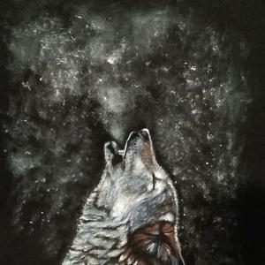 Pólófestés, Ruha & Divat, Festészet, Ezt a farkast lányom barátnőjének kívánságára festettem, saját fekete pólójára. Szeretem az egyedisé..., Meska