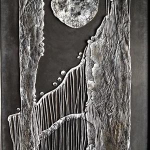 """Absztrakt festmény/relief, Művészet, Festmény, Festmény vegyes technika, Festészet, Festett tárgyak, \""""Éjszaka\"""" 21x30cm\nVegyes technikával készült absztrakt festmény/relief keretezve.\n\n(Szállítás csak t..., Meska"""