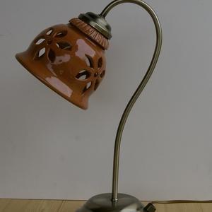 Terrakotta virágos áttört - asztali lámpa (Avar) - Meska.hu