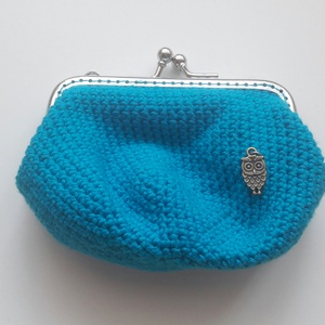 Horgolt pénztárca- kék,baglyos (AvecMonPapillon) - Meska.hu