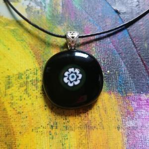 Üveg medál, Ékszer, Medál, Üvegművészet, Fusing technikával készült medál.\nMuránói üveg millefiori  betéttel, Meska
