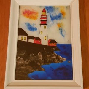 Világítótorony, Otthon & lakás, Dekoráció, Kép, Képzőművészet, Üvegművészet, 12x16,5 cm méretű, üvegre festett világítótorony tengerparttal, a képkeret mérete 15x20 cm. \n\nA szik..., Meska
